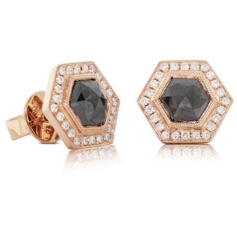 18ct Rose Gold 2.16ct Black Diamond Halo Earrings