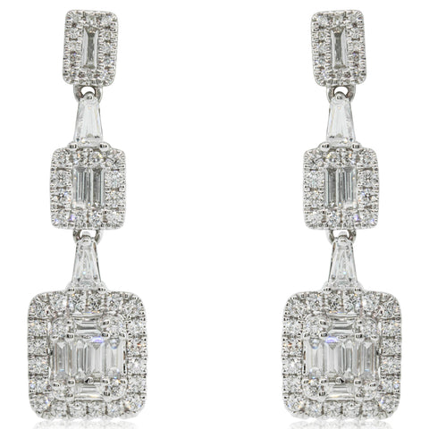 18ct White Gold 1.30ct Diamond Drop Earrings