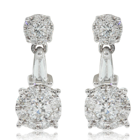 18ct White Gold .63ct Diamond Drop Earrings