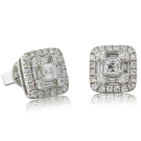 18ct White Gold .30ct Diamond Halo Earrings