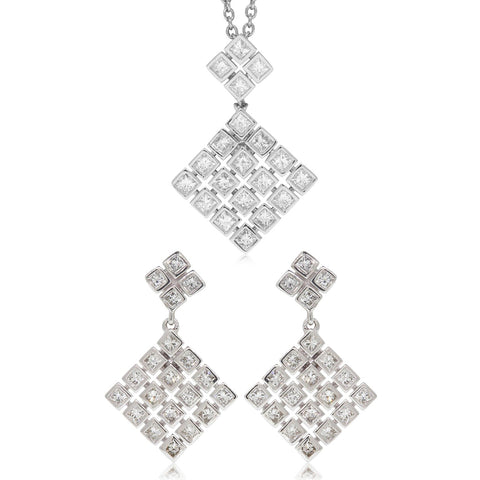 Gift Set - 9ct White Gold Square Diamond Cluster Drop Earrings & Pendant - Walker & Hall