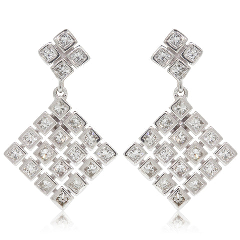 9ct White Gold .60ct Diamond Drop Earrings