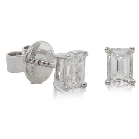 18ct White Gold 1.08ct Diamond Solitaire Earrings