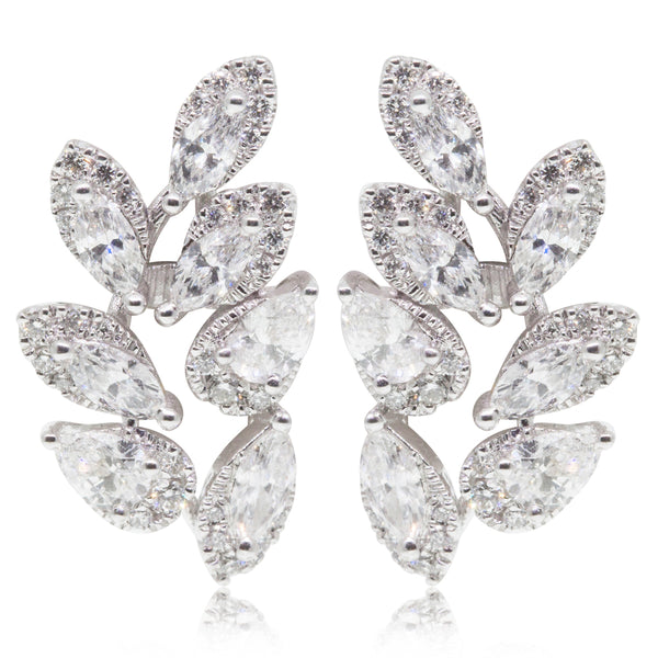 18ct White Gold 1.54ct Diamond Wreath Earrings - Walker & Hall