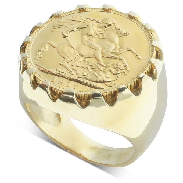 9ct Yellow Gold Full Sovereign Claw Set Ring - Walker & Hall
