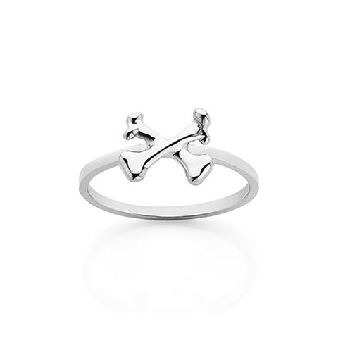 Meadowlark Crossbones Stacker Ring - Sterling Silver - Walker & Hall