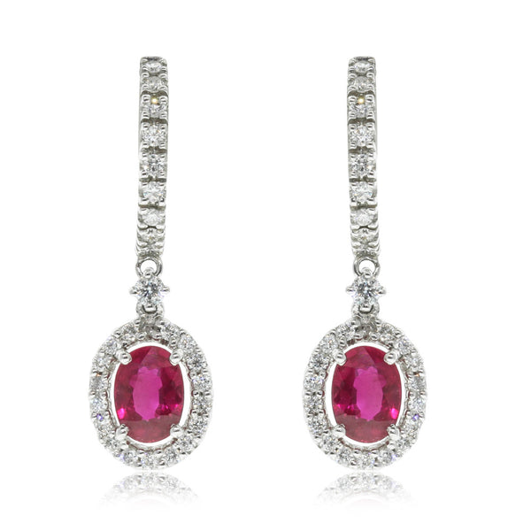 18ct White Gold Ruby & Diamond Earrings - Walker & Hall