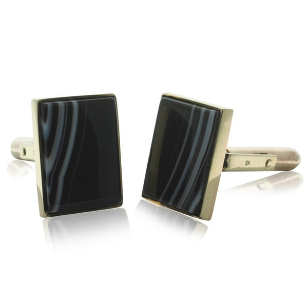 9ct Yellow Gold Agate Cufflinks - Walker & Hall