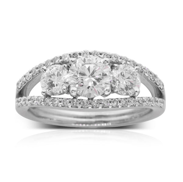 18ct White Gold .78ct Diamond Trilogy Ring - Walker & Hall