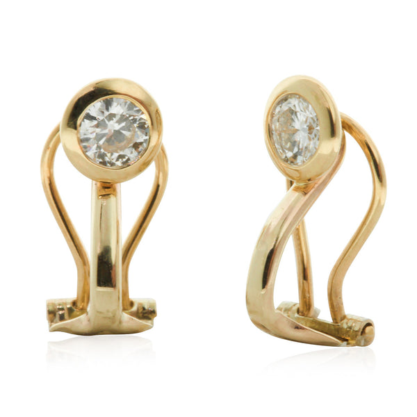 9ct & 18ct Yellow Gold Diamond Clip On Earrings - Walker & Hall
