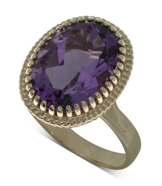 9ct Yellow Gold Amethyst Exotic Ring