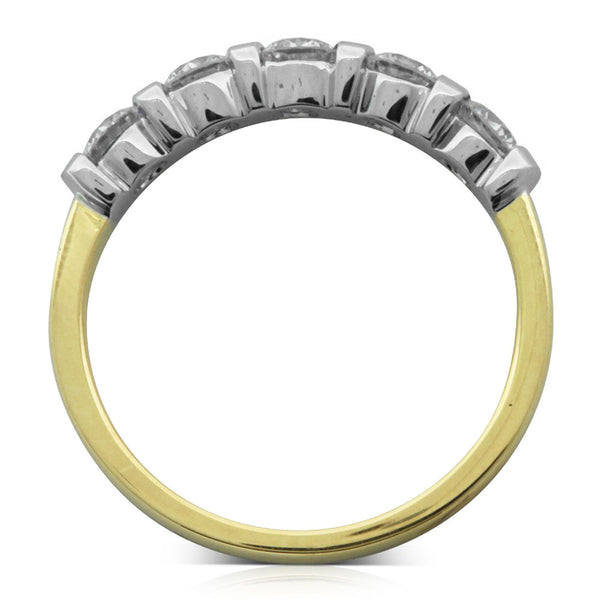 18ct Yellow Gold And White .77ct Diamond Band - Walker & Hall