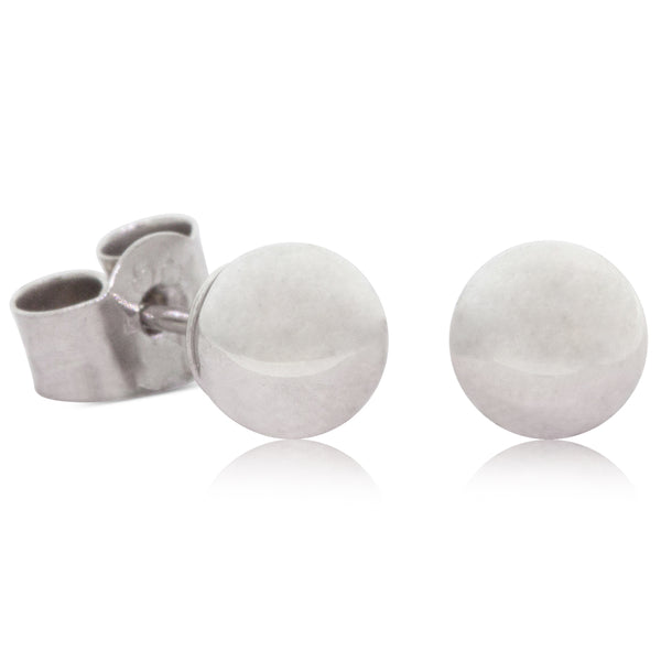 9ct White Gold 5mm Ball Stud Earrings - Walker & Hall