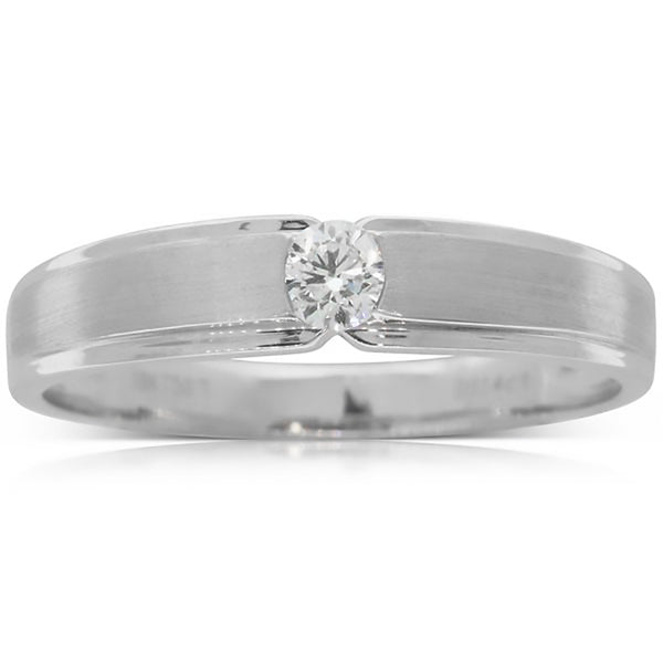 18ct White Gold .14ct Diamond Couple Ring - Mens - Walker & Hall