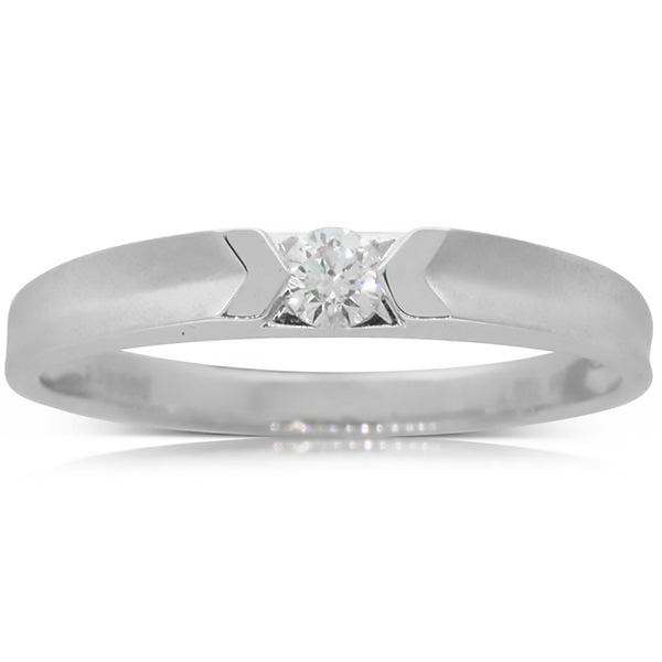 18ct White Gold .08ct Diamond Couple Ring - Mens - Walker & Hall