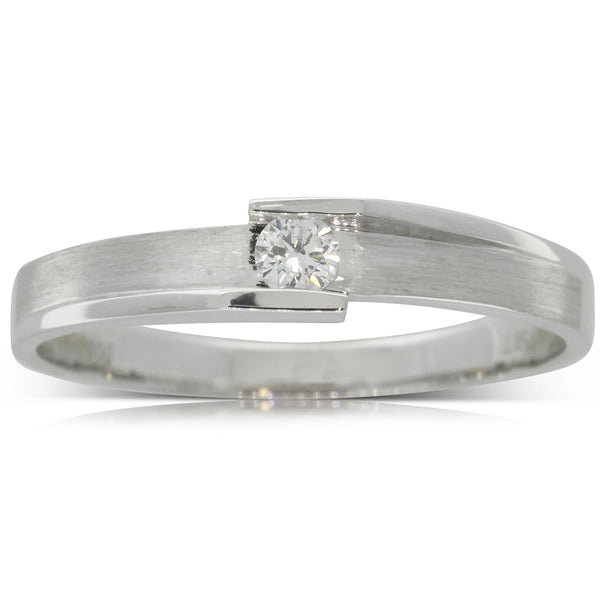 18ct White Gold .05ct Diamond Couple Ring - Ladies - Walker & Hall