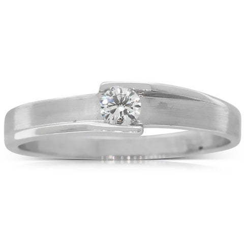 18ct White Gold .13ct Diamond Couple Ring - Mens - Walker & Hall