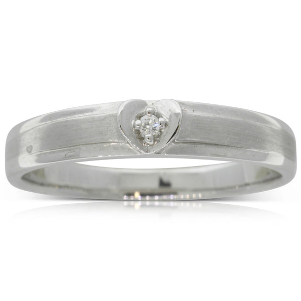 18ct White Gold .01ct Diamond Couple Ring - Ladies - Walker & Hall
