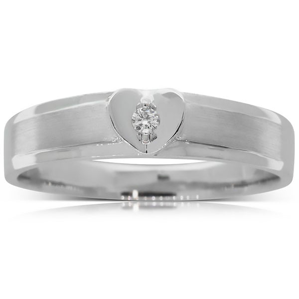 18ct White Gold .02ct Diamond Couple Ring - Mens