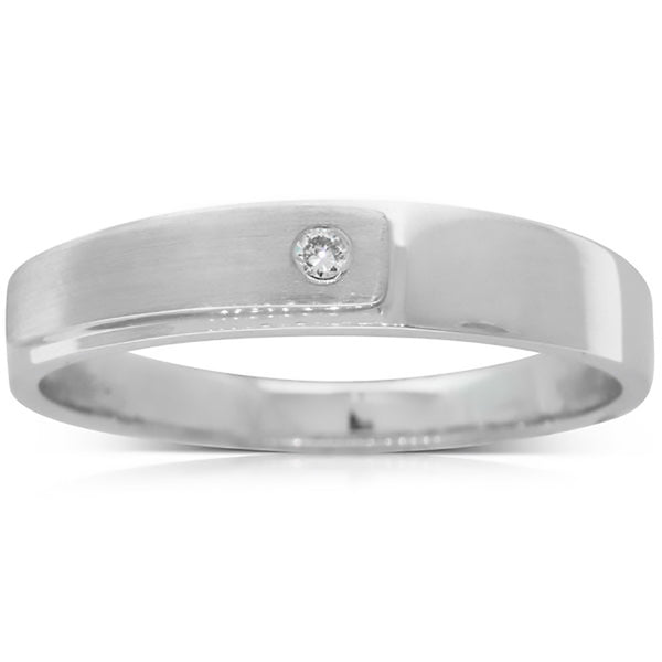18ct White Gold .02ct Diamond Couple Ring - Mens - Walker & Hall