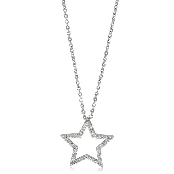 9ct White Gold Diamond Star Struck Pendant