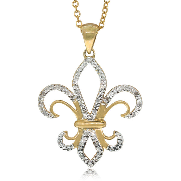 9ct Yellow Gold Diamond Large Fleur De Lis Pendant