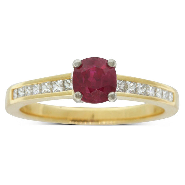 18ct Yellow And White Gold Ruby And Diamond Ring - Walker & Hall