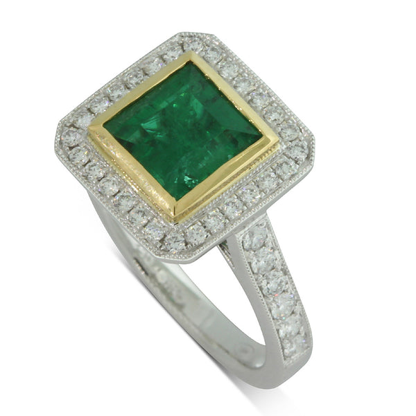 18ct White And Yellow Gold Emerald And Diamond Ring - Walker & Hall