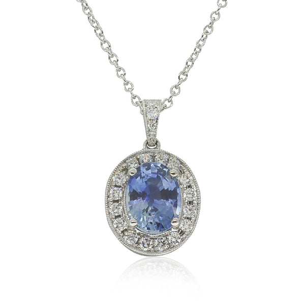 18ct White Gold Sapphire And Diamond Pendant - Walker & Hall
