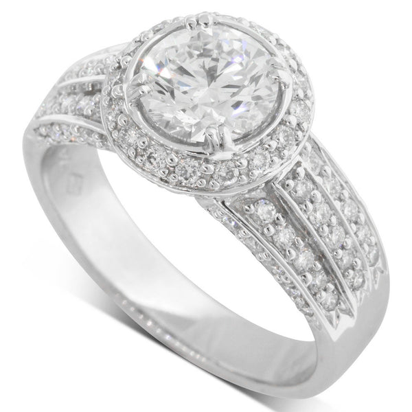 18ct White Gold 1.22ct Diamond Halo Ring - Walker & Hall