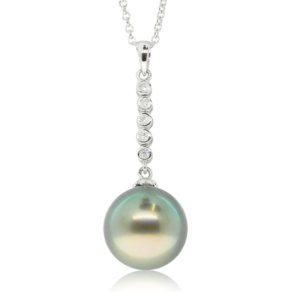 18ct White Gold Diamond & Tahitian Pearl Pendant - Walker & Hall