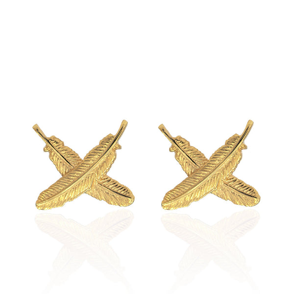 Boh Runga 9ct Gold Feather Kisses Studs - Walker & Hall