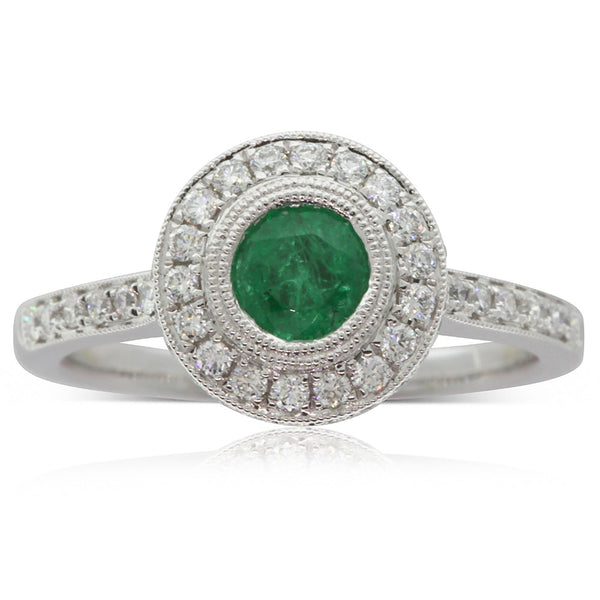 18ct White Gold Emerald & Diamond Halo Ring - Walker & Hall