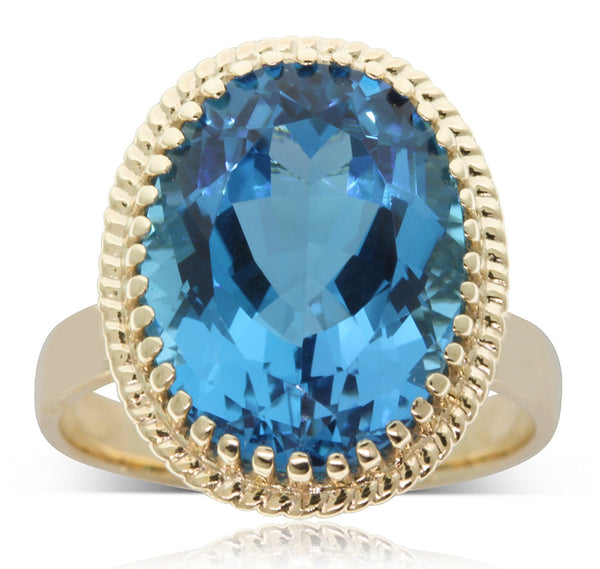 9ct Yellow Gold Blue Topaz Exotic Ring - Walker & Hall