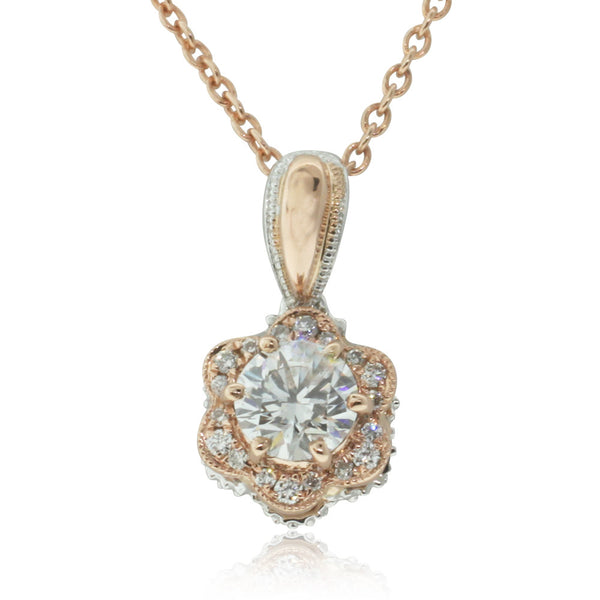 18ct Rose Gold Diamond Pendant - Walker & Hall