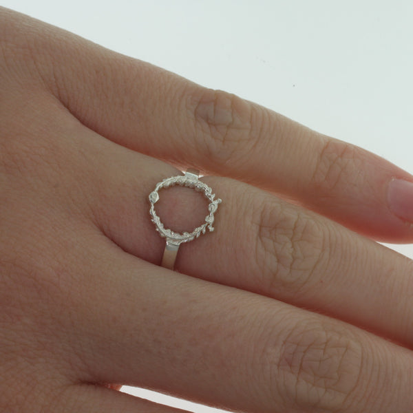 Meadowlark Wreath Stacker Ring - Sterling Silver