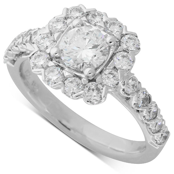 18ct White Gold .70ct Diamond Halo Ring - Walker & Hall