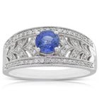 18ct White Gold Sapphire & Diamond Filigree Ring - Walker & Hall