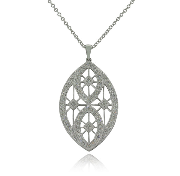 18ct White Gold .59ct Diamond Pendant - Walker & Hall