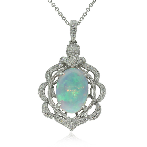 18ct White Gold Opal And Diamond Pendant - Walker & Hall