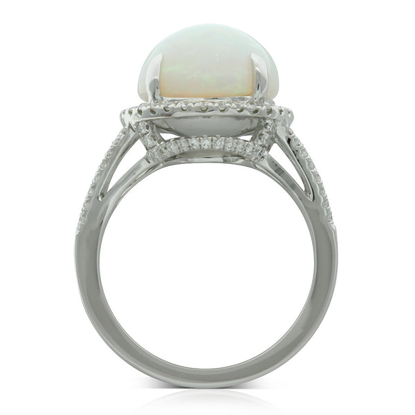 18ct White Gold Opal And Diamond Ring - Walker & Hall