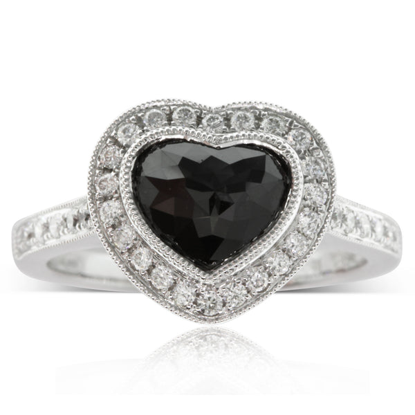 18ct White Gold Black Diamond Halo Ring - Walker & Hall