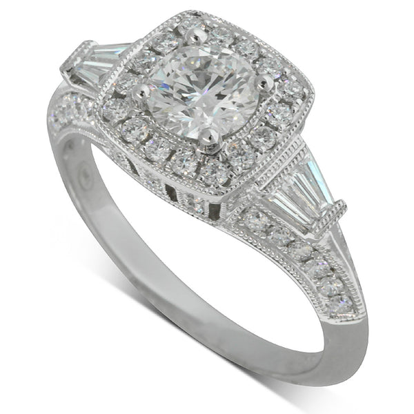 18ct White Gold .71ct Diamond Halo Ring - Walker & Hall