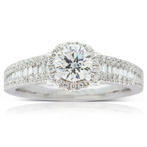 18ct White Gold .63ct Diamond Halo Ring - Walker & Hall