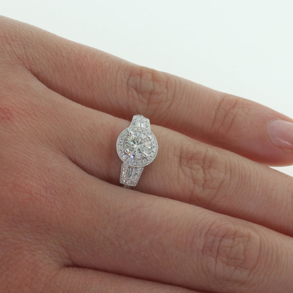 18ct White Gold .75ct Halo Ring - Walker & Hall