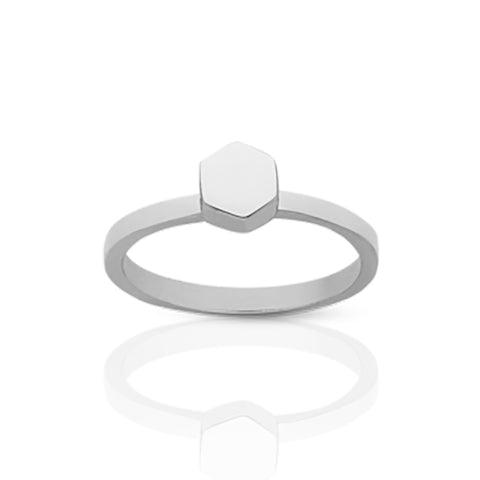 Meadowlark Hexagon Stacker Ring - Sterling Silver - Walker & Hall