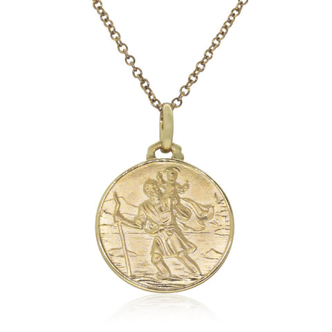 9ct Yellow Gold Saint Christopher Pendant - Walker & Hall