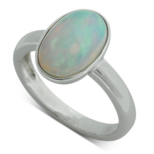 9ct White Gold Oval Opal Ring - Walker & Hall