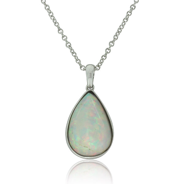 9ct White Gold Opal Pendant - Walker & Hall
