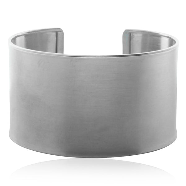 Sterling Silver Wide Brushed Cuff - Walker & Hall